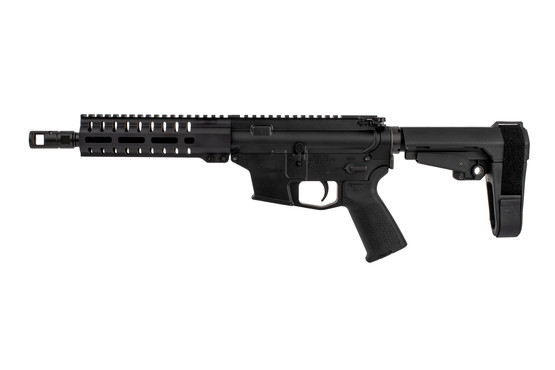 The Banshee MkGs 9mm pistol with M-LOK rail and muzzle brake features a flat top picatinny rail