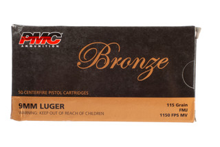 PMC Bronze 9mm Full Metal Jacket Ammo comes in a box of 50 rounds