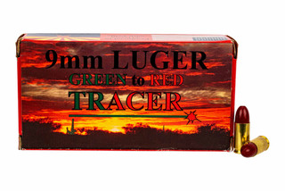 Piney Mountain 9mm Tracer Ammo changes color from green to red down range