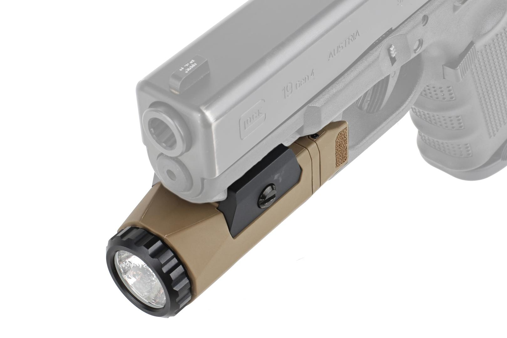 This Inforce light is attached to a glock 19 handgunThis Inforce light is attached to a glock 19 handgun and features ambidextrous textured activation switches