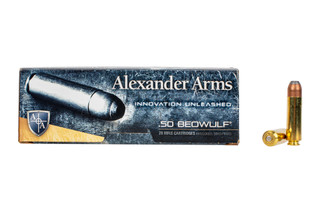 Alexander Arms 400gr HAWK Flat Point .50 Beowulf ammo includes 20 rounds per box.