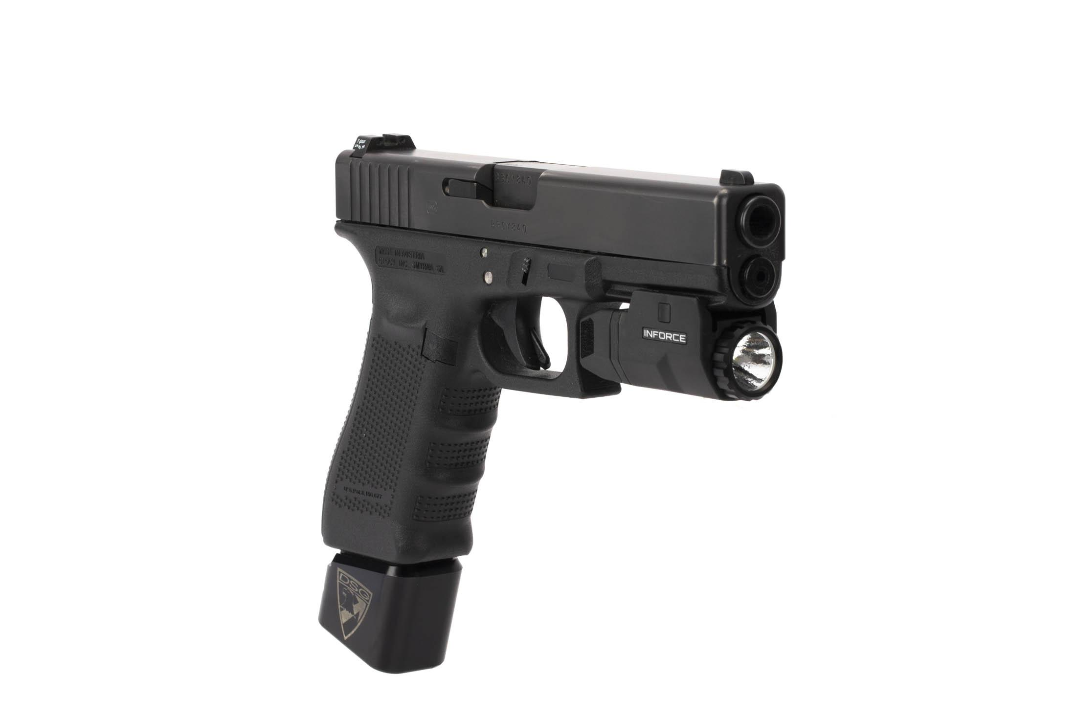 The Inforce APL Compact weapon light is powered by a single CR123A battery for 1.5 hours of runtime