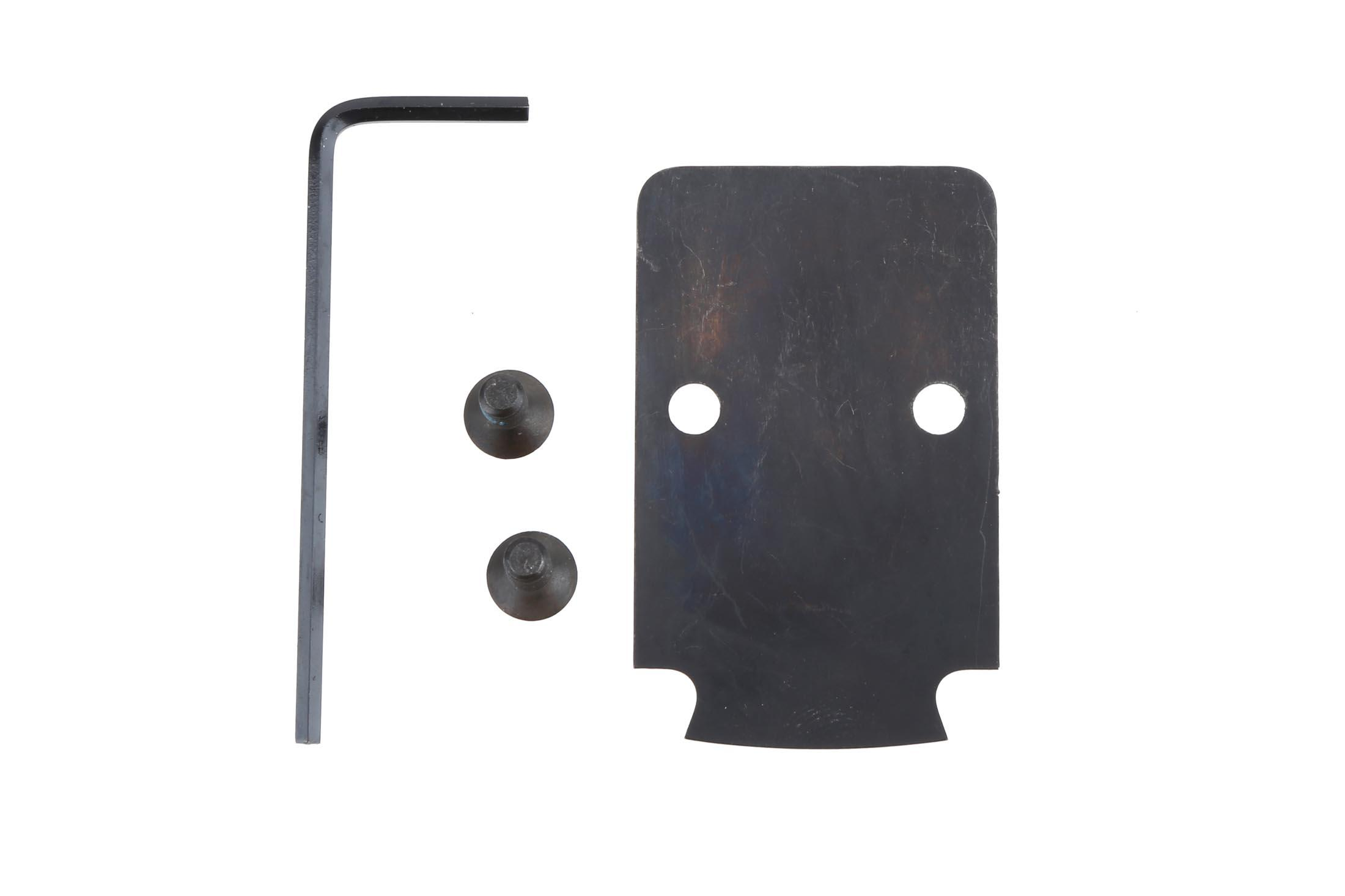The Trijicon RMR Mounting plate kit for the Glock MOS system comes with screws and a hex wrench