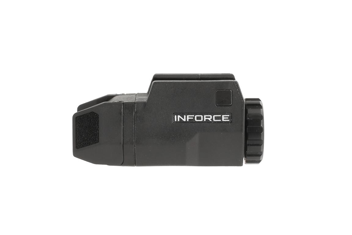 This Inforce light for glock handguns features multiple light modes and uses a single CR2 battery