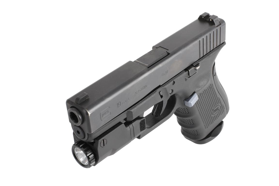 The Inforce tactical light attached to a G19 features a durable reinforced polymer housing