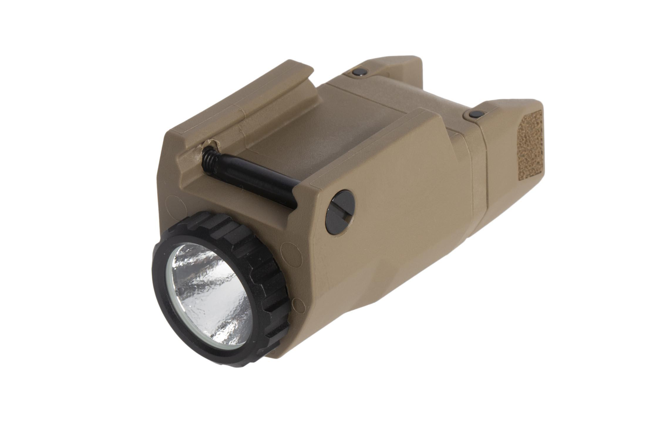 Inforce APLc weaponlight for Glock handguns with FDE body puts out 200 lumens of bright white light ideal for CQC
