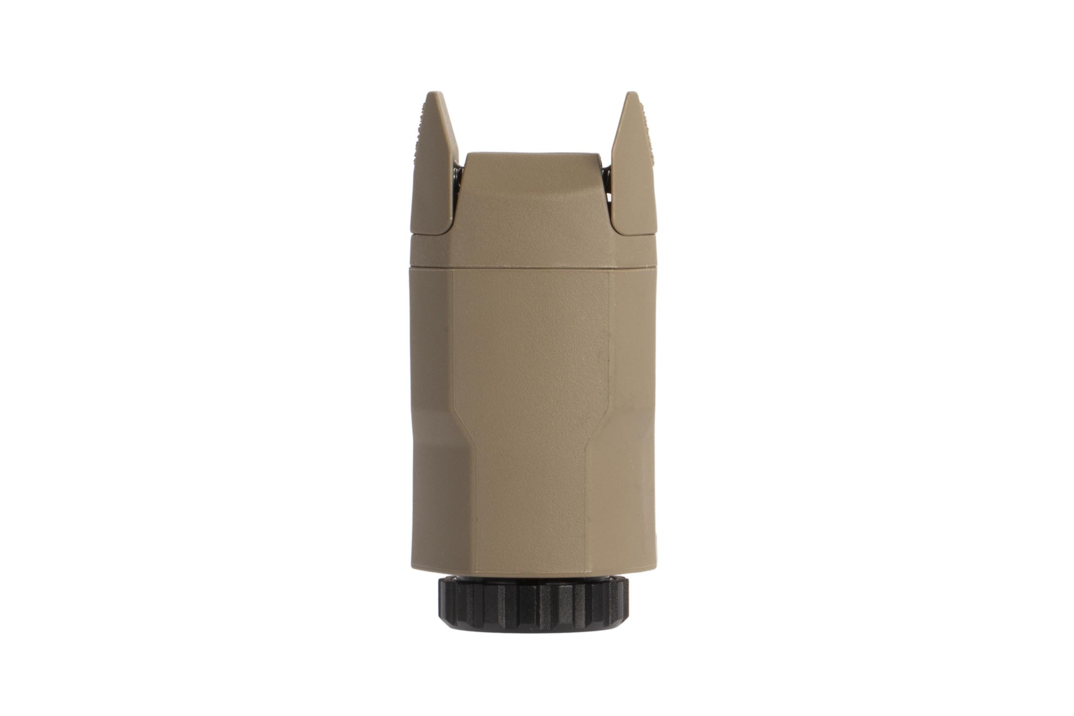 Inforce glock-specific APLc hadngun flash light has dual activation paddles for ambidextrous use and an FDE body