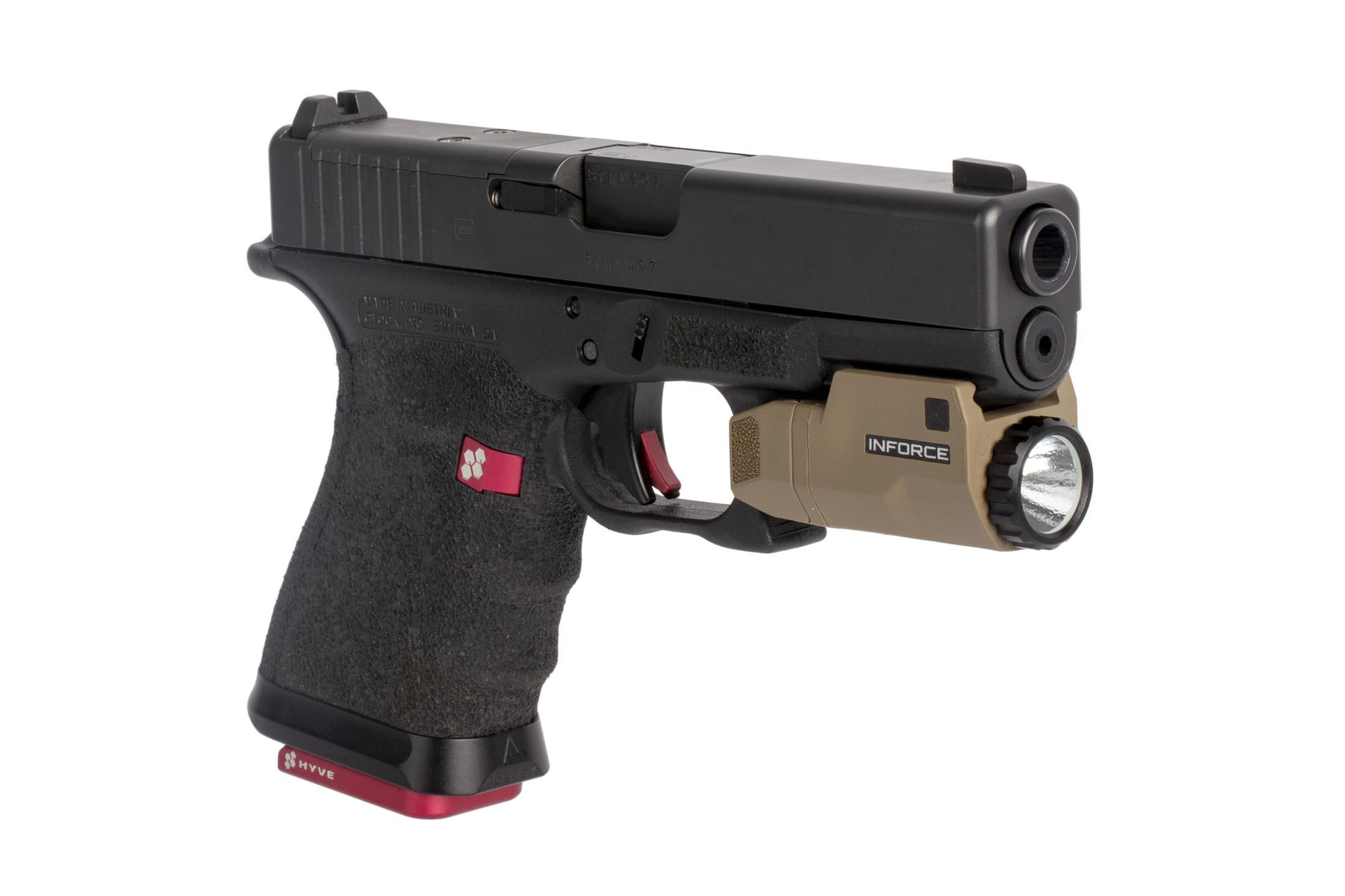 Inforce APLc 200 Lumen FDE weapon light is compatible with all railed Glock handguns including compact models