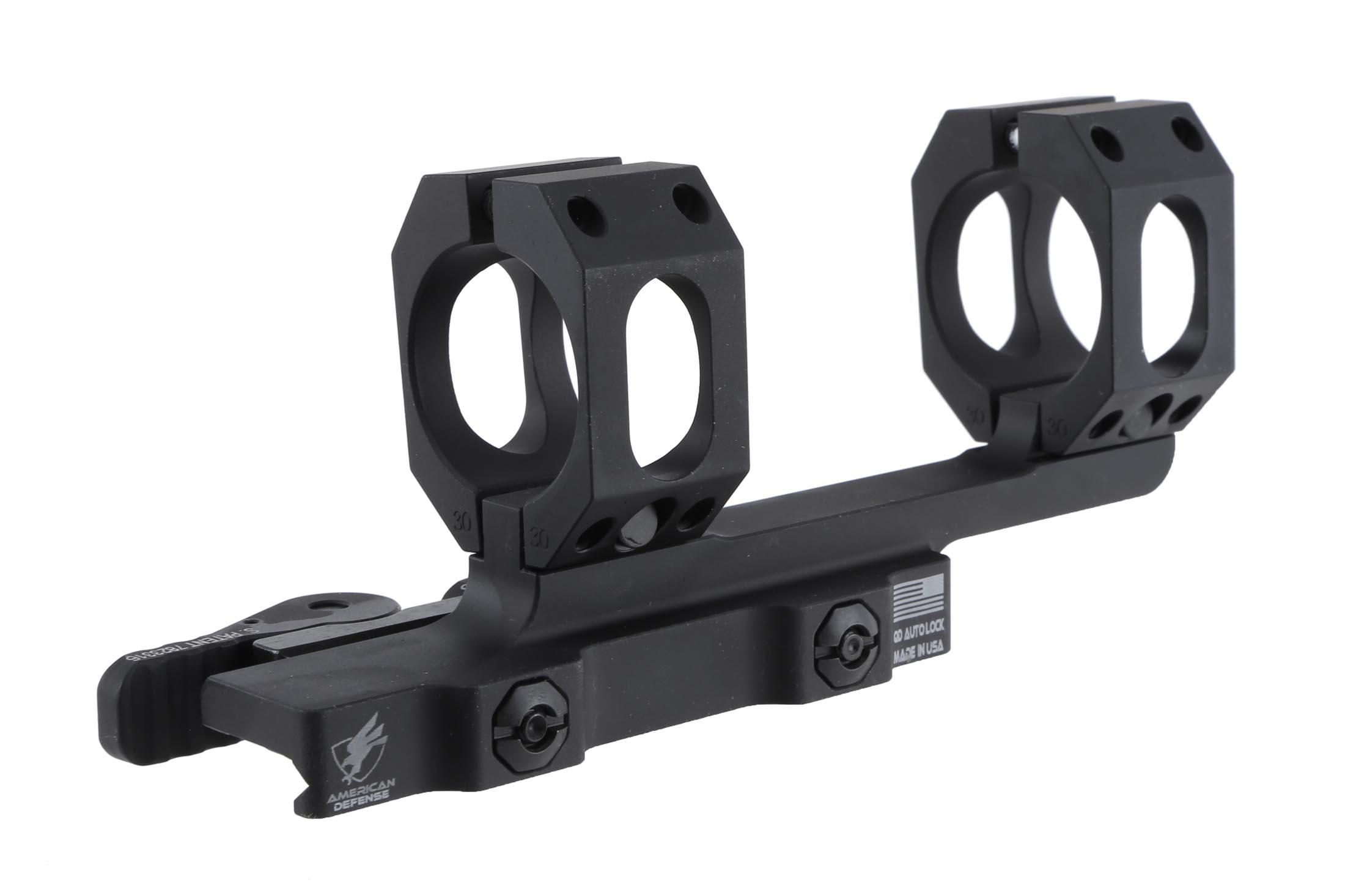 The American Defense 30mm Recon quick detach scope mount is low profile for optics with 56mm objective lens