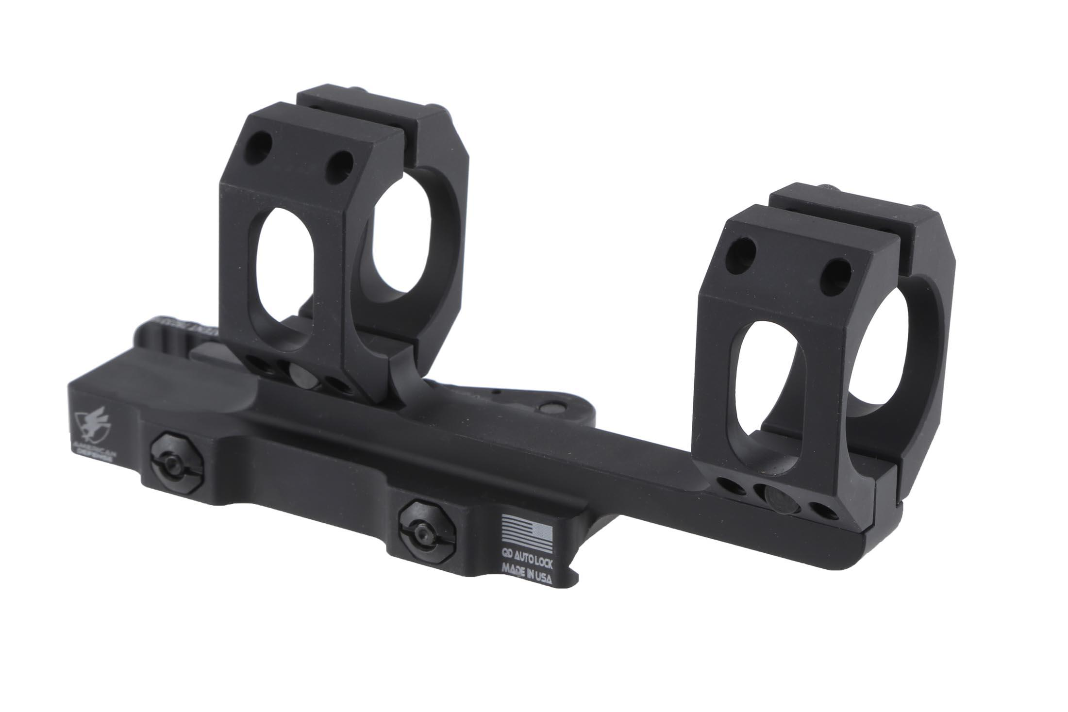 The American Defense mount for 30mm scopes features return to zero functionality