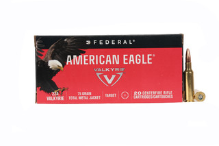 The Federal American Eagle .224 Valkyrie Ammunition features a 75 grain TMJ bullet