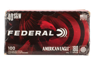 Federal American Eagle 40 S&W 180gr FMJ Ammo comes in brass casing