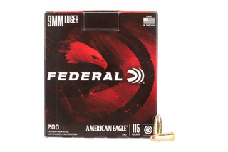 Federal American Eagle 9mm 115Gr handgun ammo features a lead core with brass casing