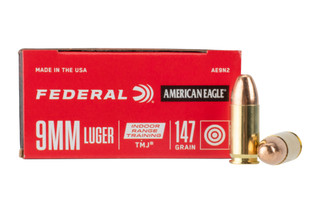 Federal American Eagle Indoor Range 9mm 147gr TMJ Ammo features brass casing