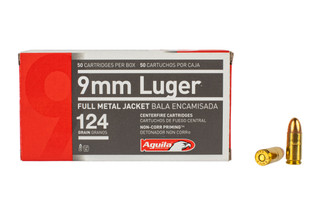 Aguila 9mm Full Metal Jacket Ammo features a 124 grain bullet