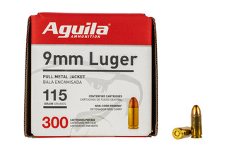 Aguila Ammunition 9mm FMJ ammo features a 115 grain bullet and comes with 300 rounds