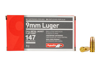 Aguila 9mm FMJ Flat Point Ammo features a 147 grain bullet