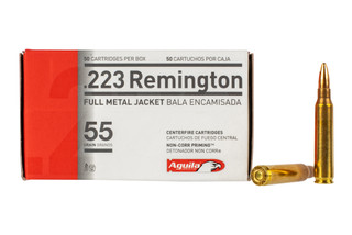 Aguila 223 remington ammo features 55 grain full metal jacket bullet
