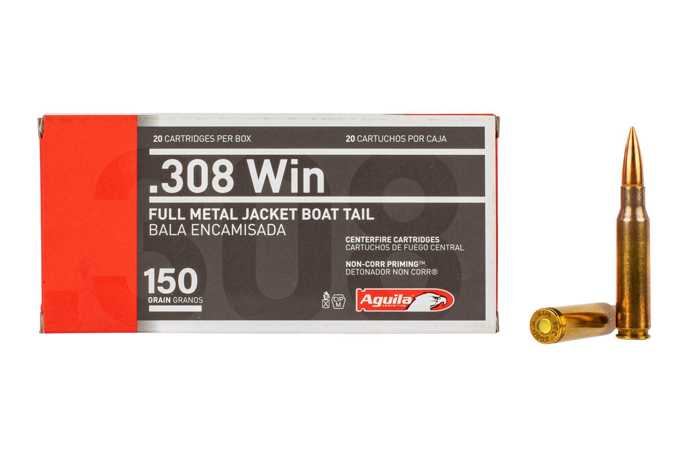Aguila 308 Winchester 150 grain ammo features a full metal jacket boat tail bullet