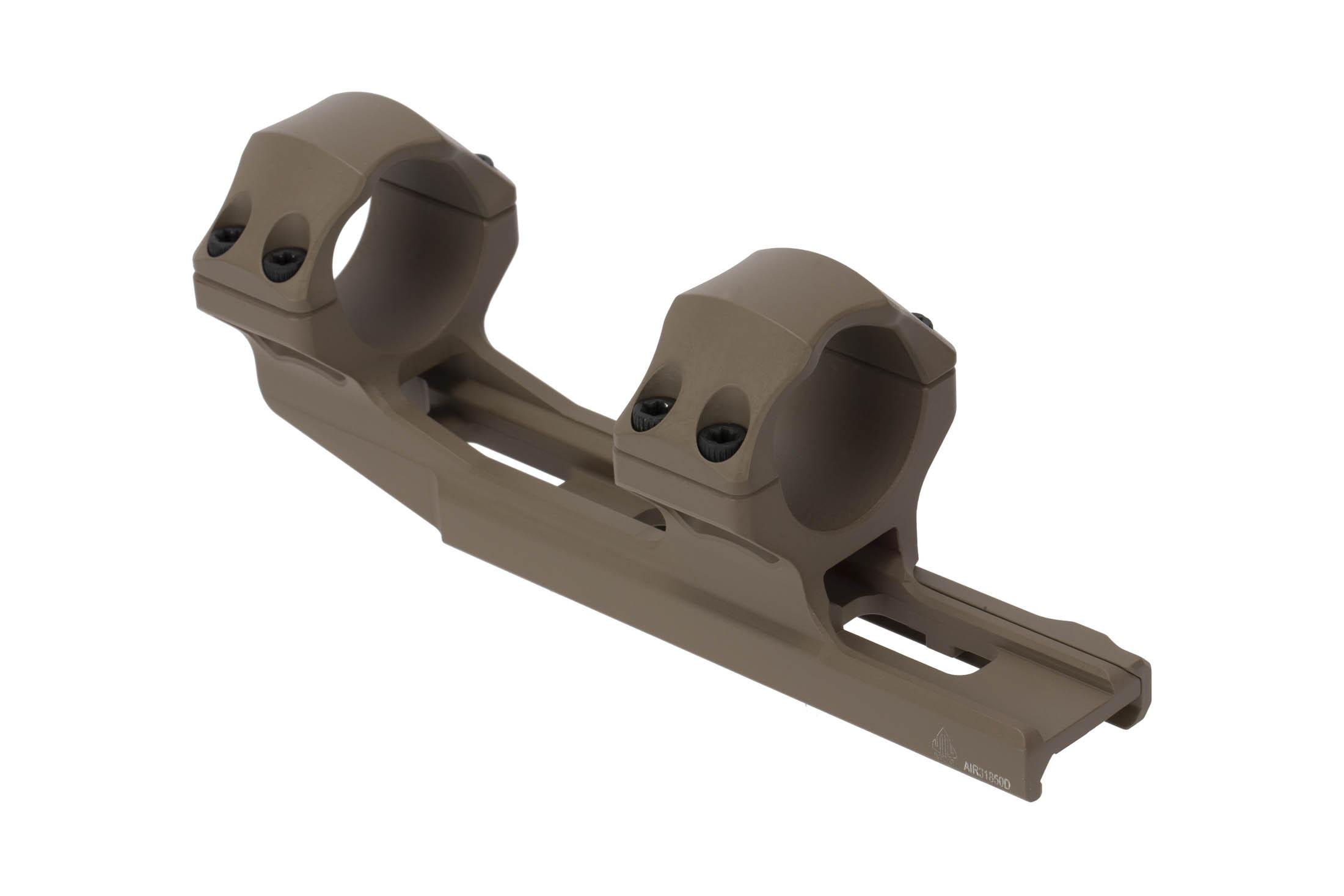 Leapers UTG ACCU-SYNC 30mm FDE extended scope mount with medium height rings has a lightweight skeletonized design