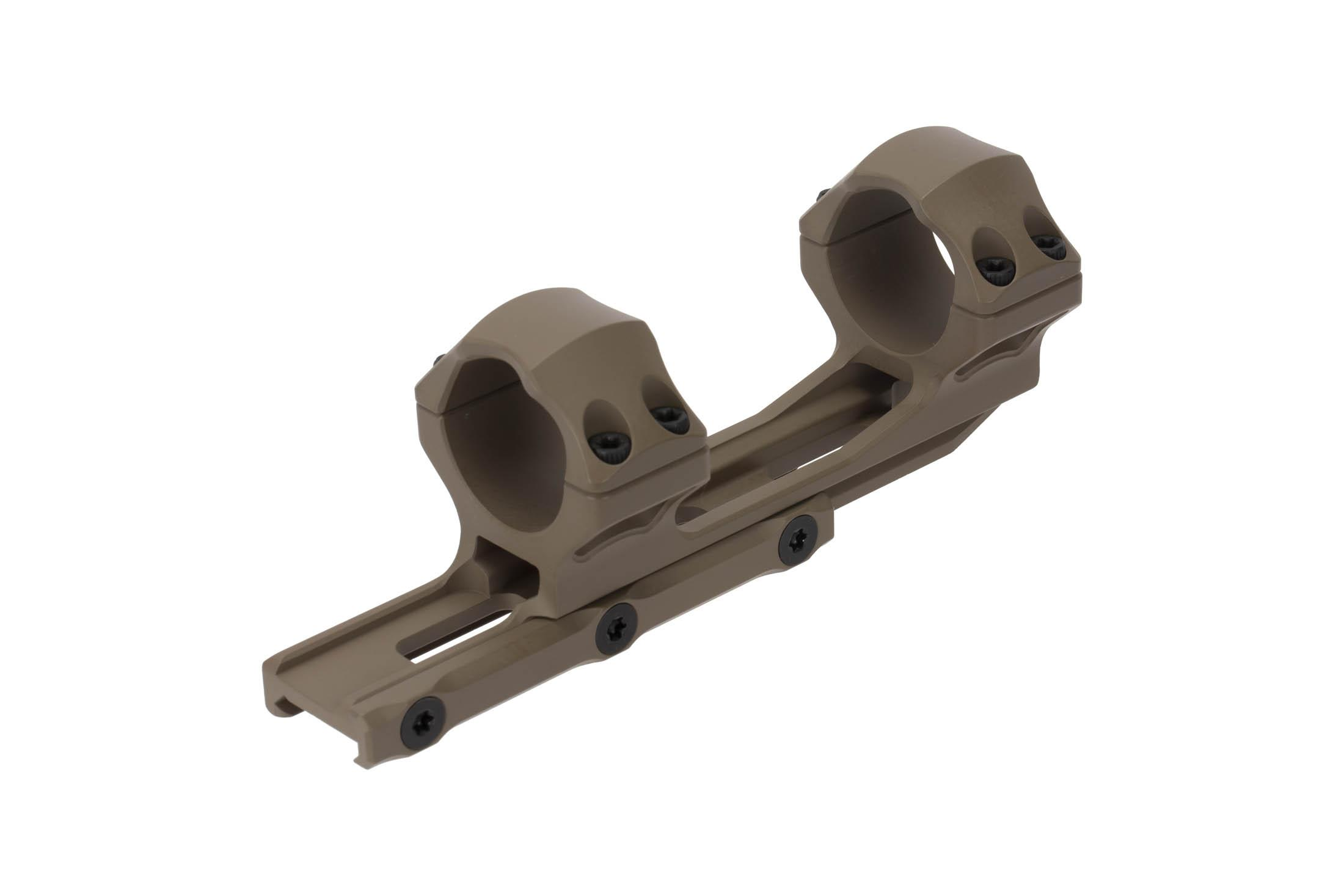 Leapers UTG ACCU-SYNC 30mm extended scope mount with FDE medium height rings mounts securely with three cross bolts
