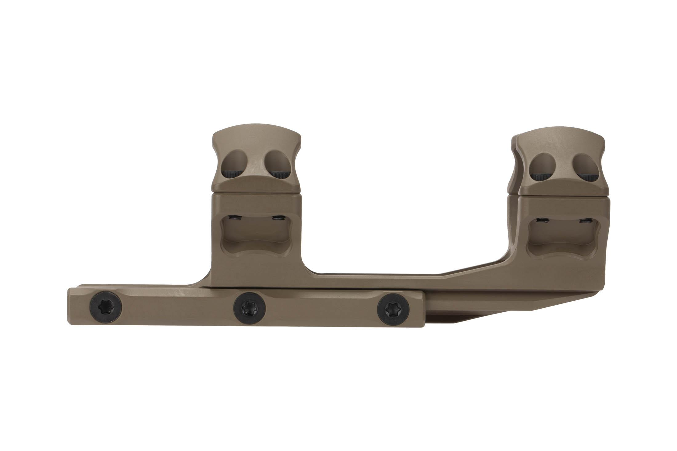 Leapers UTG ACCU-SYNC 30mm medium height extended scope mount is machined from 6061-T6 aluminum with FDE anodized finish