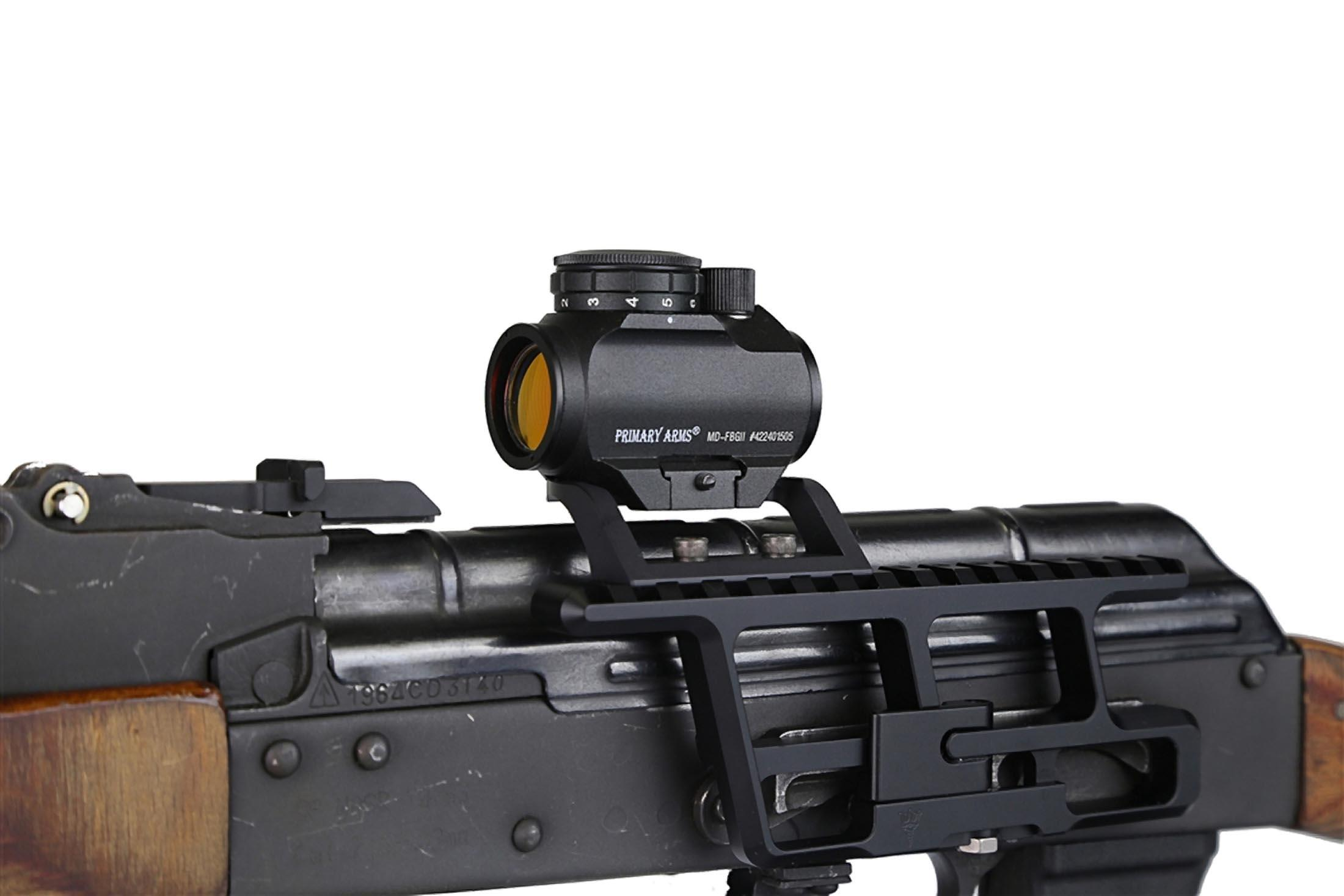 The RS mount AKMD attached to an AK47 with a primary arms micro dot sight