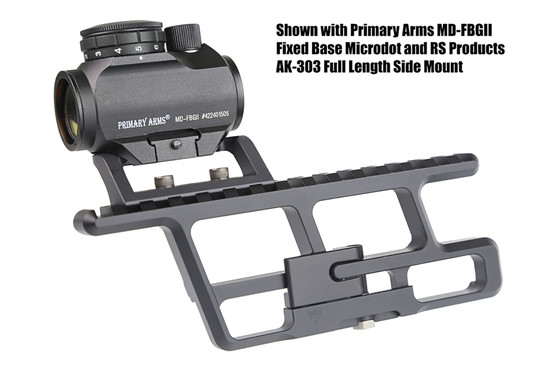 The AKMD red dot sight scope mount attached to the RS Regulate AK-303 lower side mount