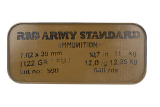 Red Army Standard 7.62x39 steel cased ammo features a 122gr full metal jacket
