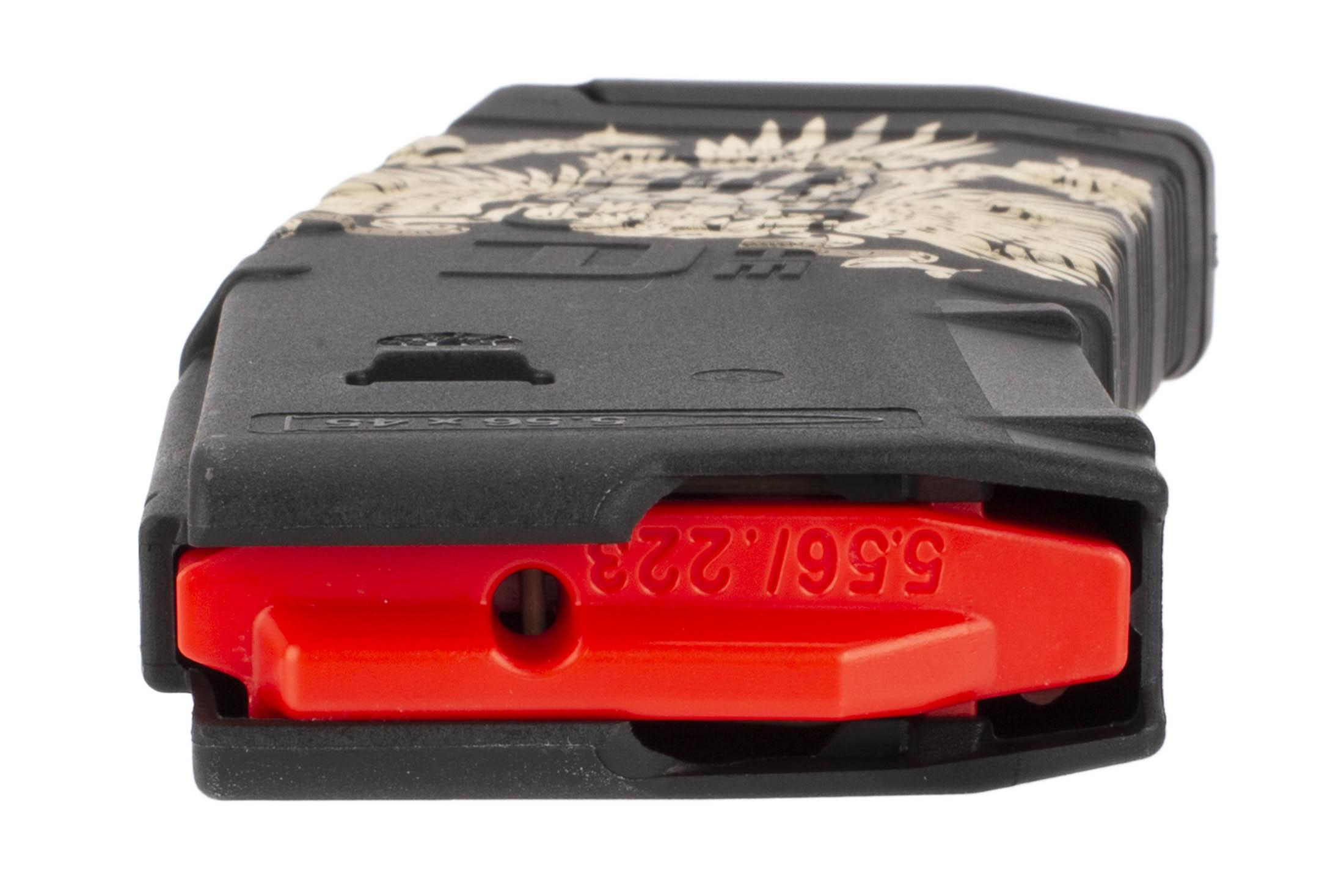 Amend2 30-round magazine with American Eagle Cerakote by Black Rain Ordnance and high visibility follower.