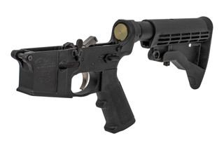 The Anderson Manufacturing AR15 complete lower receiver features a closed ear trigger guard