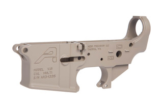 The Aero Precision Stripped Lower Receiver for AR-15 features an FDE Cerakote finish