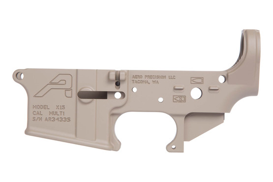 The Aero Precision AR15 stripped lower receiver gen 2 fde features a receiver tension screw
