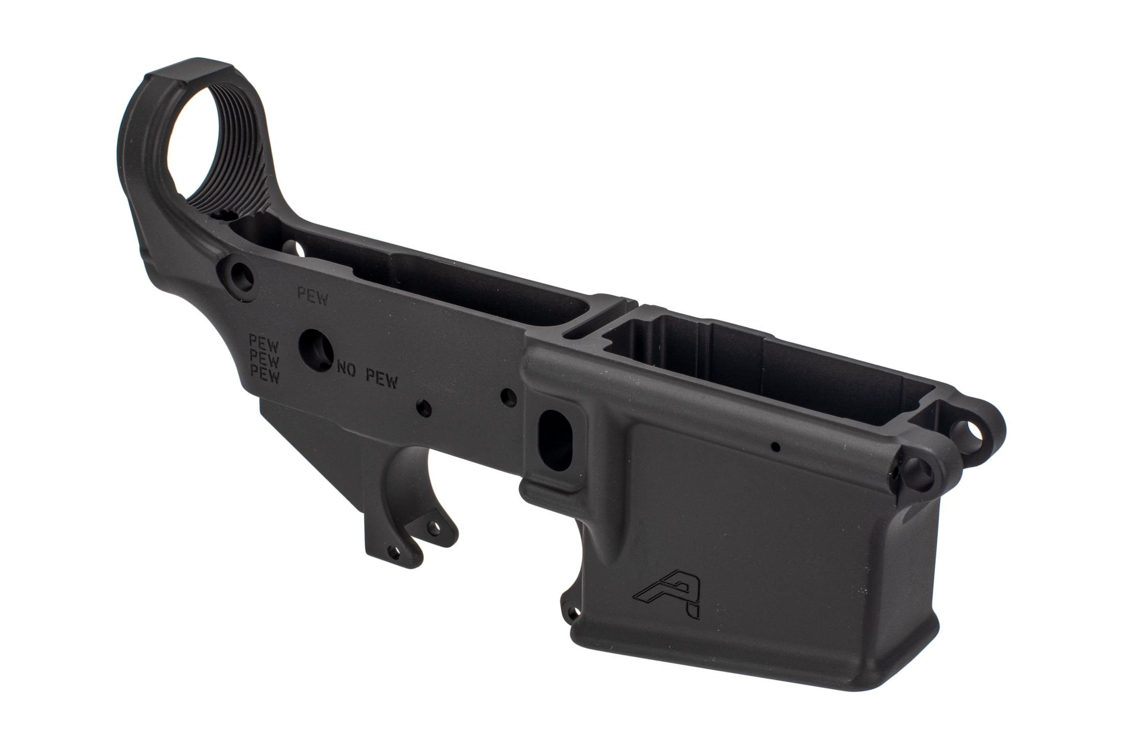 Aero Precision Stripped AR-15 lower receiver with special edition PEW engravings.