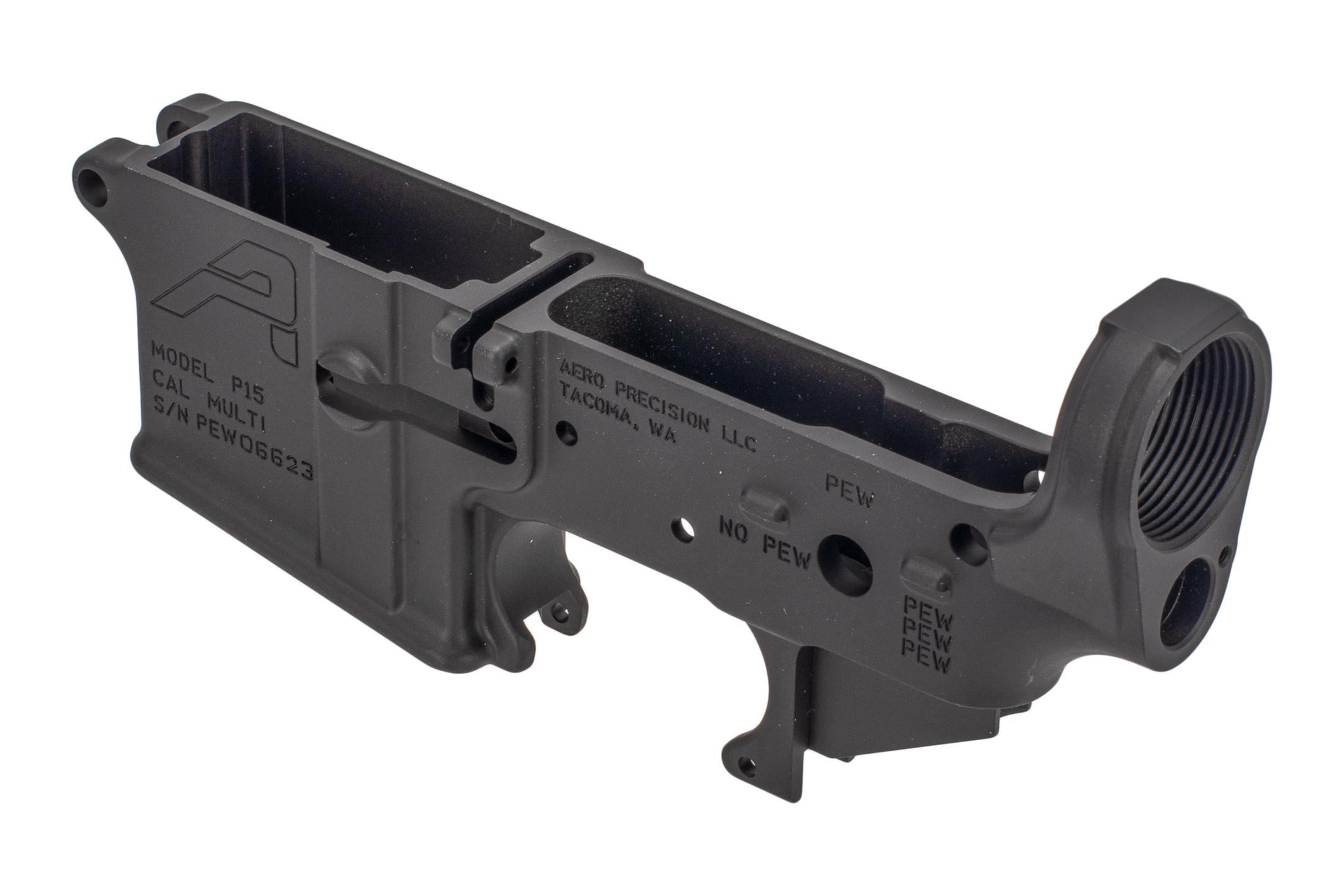 Aero Precision ar15 stripped lower receiver is a special edition with unique PEW engravings
