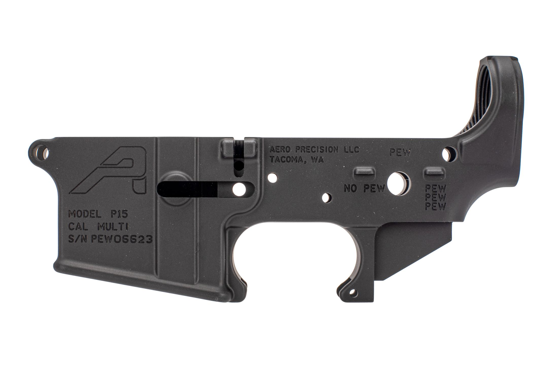 Aero stripped ar15 lower receiver special edition PEW engraved is multi-caliber engraved