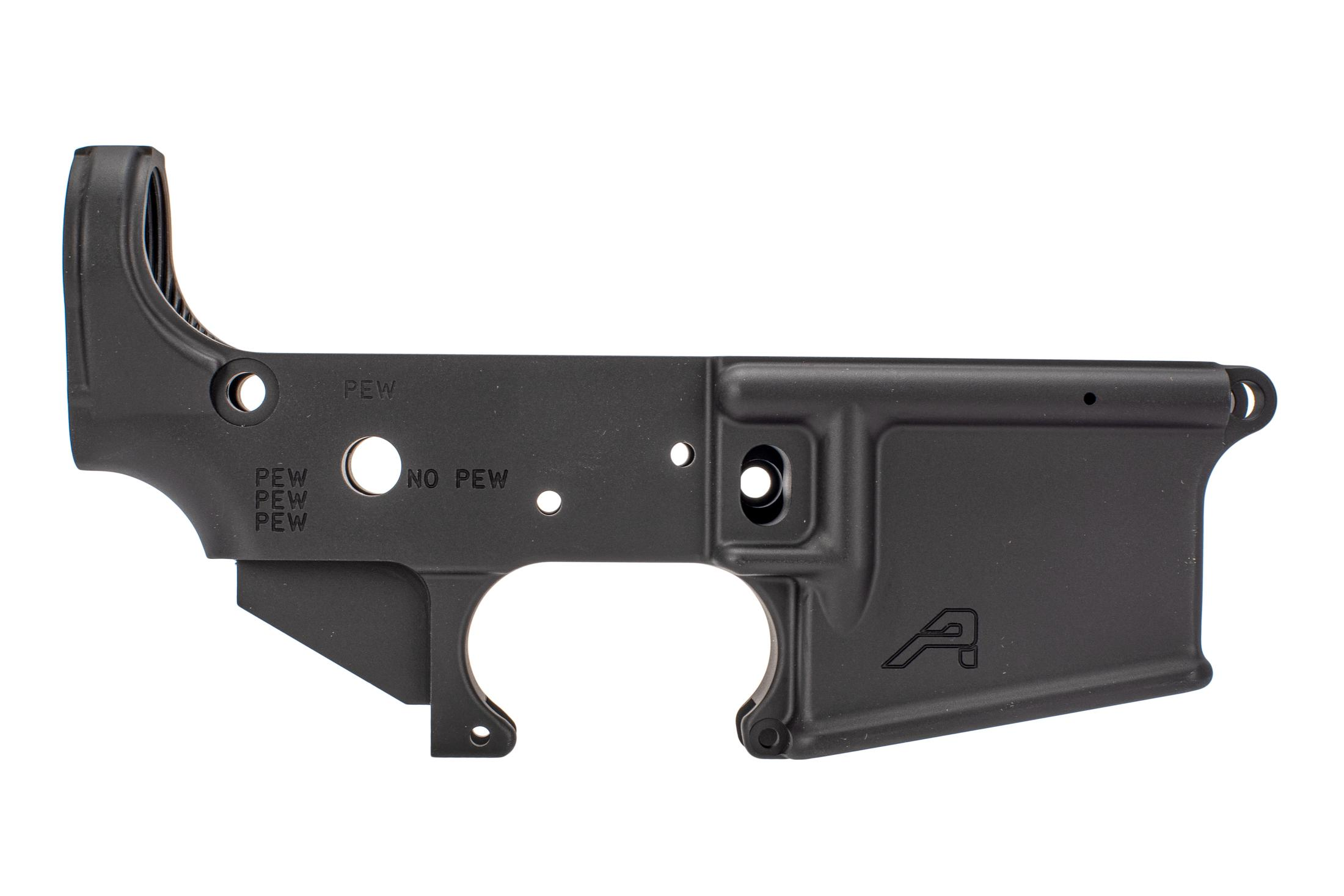 aero precision stripped lower receiver for the ar-15 with PEW special edition engravings