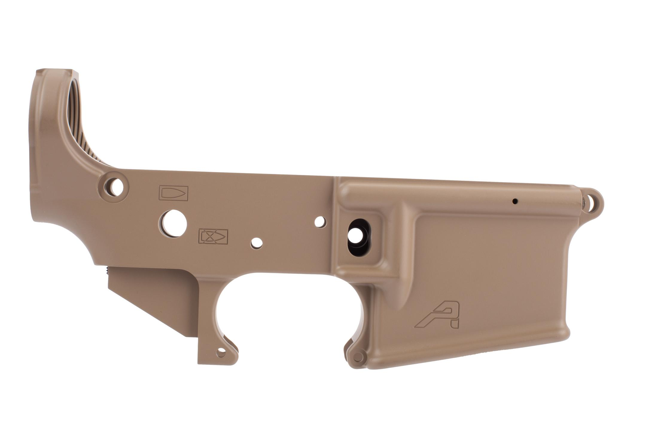 Aero Precision stripped AR 15 lower receiver gen 2 is pistol marked with FDE finish