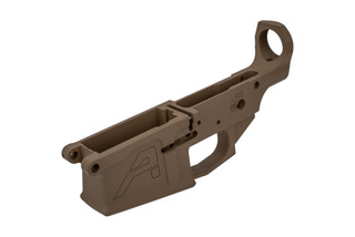The Aero Precision M5 308 stripped lower receiver features an FDE Cerakote finish