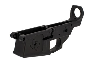 Aero Precision M5 AR-308 stripped lower is compatible with DPMS pattern receivers and features a Texas edition engraving.