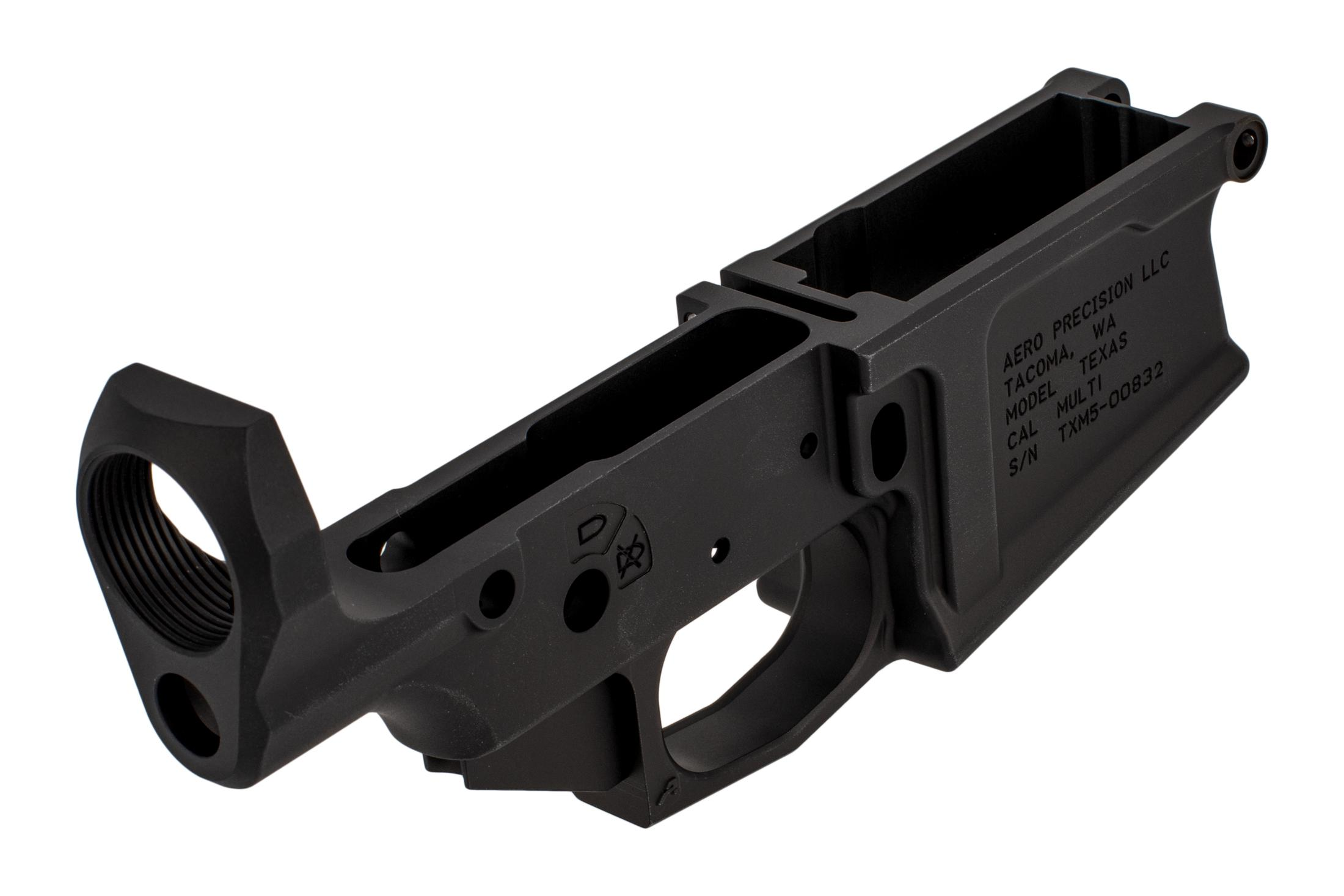 Aero Precision large frame AR-308 lower receiver is compatible with Aero M5 uppers and features a Texas Edition engraving.