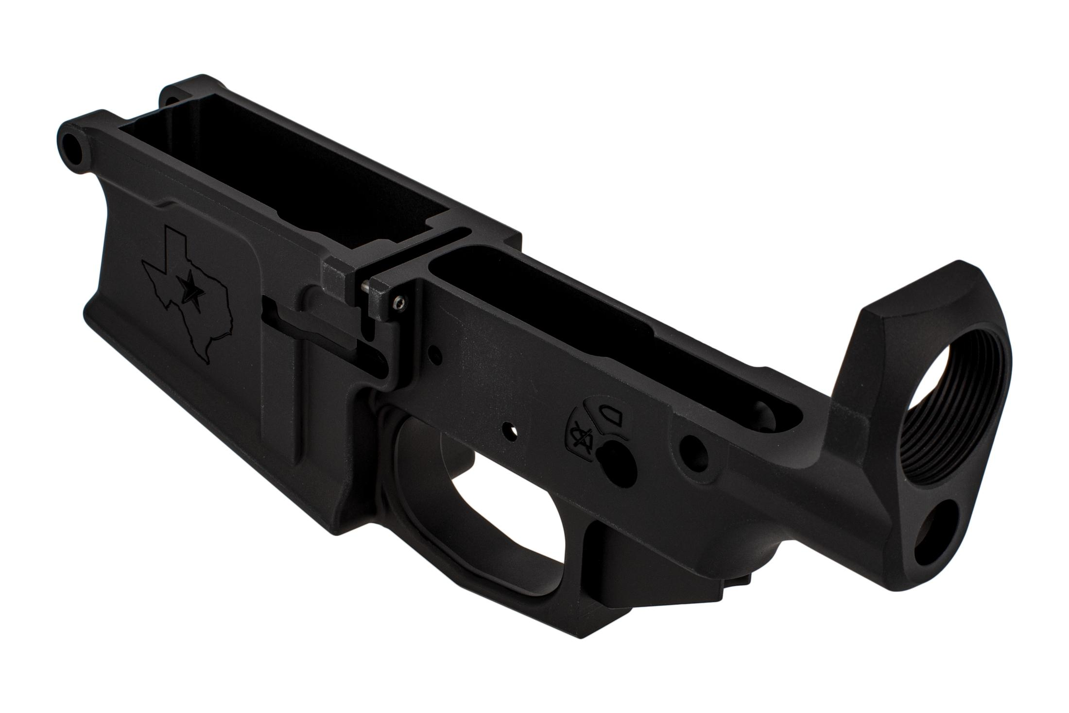 Aero Precision stripped M5 Texas Edition lower features a convenient threaded bolt catch pin and integral guard.