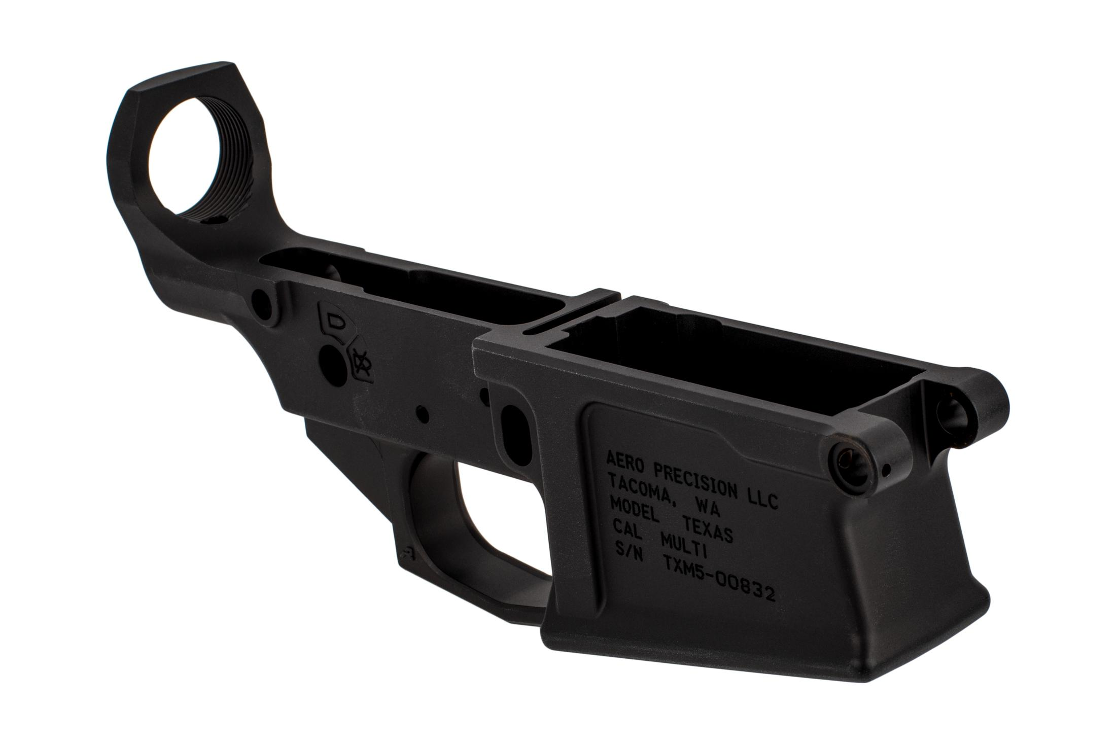 Aero Precision Texas M5 stripped lower receivers are multi-caliber marked with a tough black finish