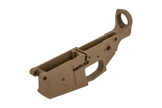 Aero Precision FDE M5 AR-308 stripped lower is compatible with DPMS pattern receivers and features a Texas edition engraving.