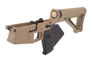 Aero Precision M5 Featurless Complete Lower Receiver features a flat dark earth Cerakote finish