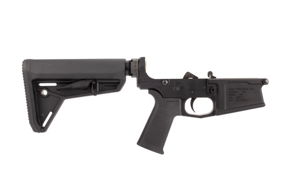 Aero Precision AR-308 M5 Complete Lower Receiver features a black hardcoat anodized finish