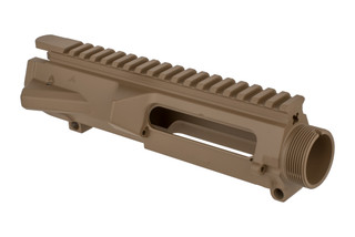 The Aero Precision M5 AR10 stripped upper receiver features an FDE Cerakote finish