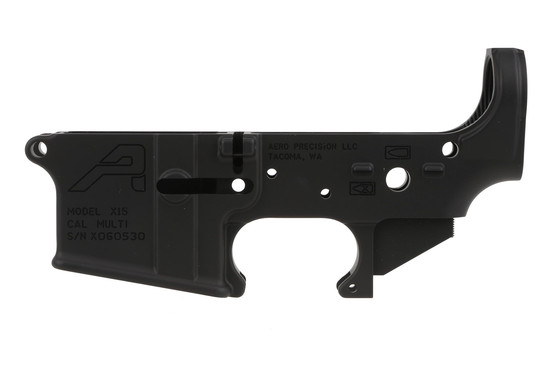 The Aero Precision X15 stripped lower receiver has a hardcoat anodized finish