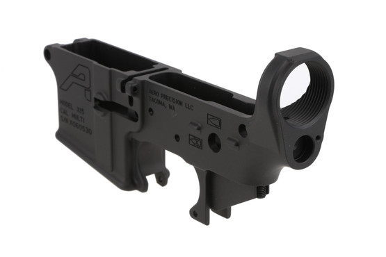 The Aero Precision Stripped lower receiver features a tensioning screw to eliminate rattle