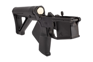 Aero Precision AR15 Featureless Complete Lower Receiver features a fin grip and fixed stock